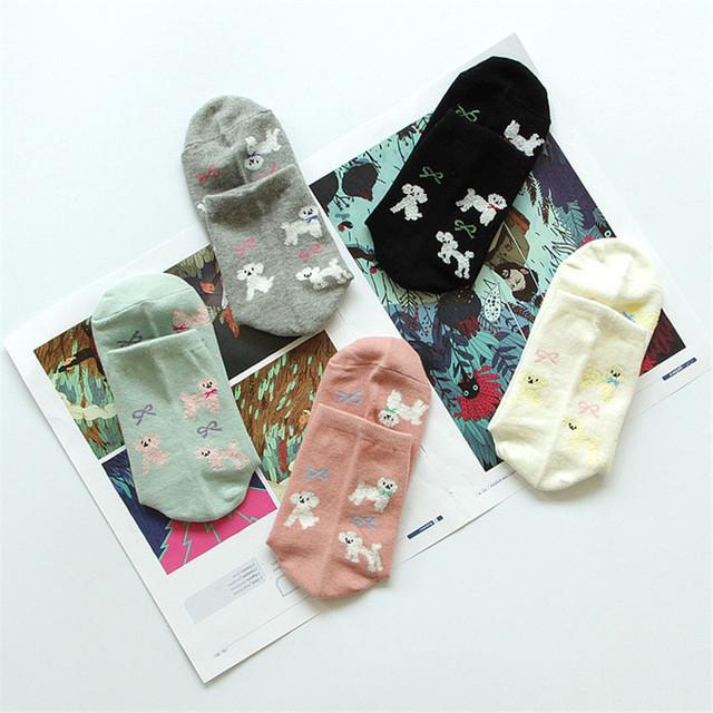 Новинка японские женщины каваи собака носки симпатичные женская пудель мультфильм носок смешные чистого хлопка трубке носки