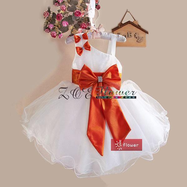 Ball Gown New Girls Dress Princess Children's Wear Party Veil Big Bow Girl Wedding Flower Baby christmas Dress Vestido Infantil(China (Mainland))