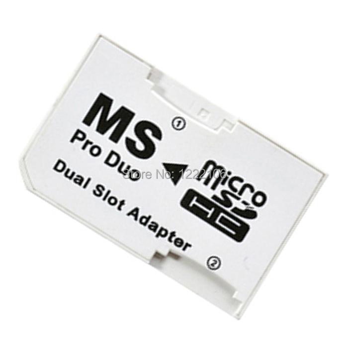20pcs/lot 50pcs/lot Micro SD HC to Memory Stick MS Pro Duo Card Dual 2 Slot Adapter for Sony PSP 1000 2000 3000(China (Mainland))