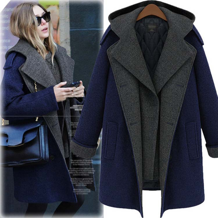 2014 new fall winter clothes large size women Europe America long section thick woolen coat jacket two