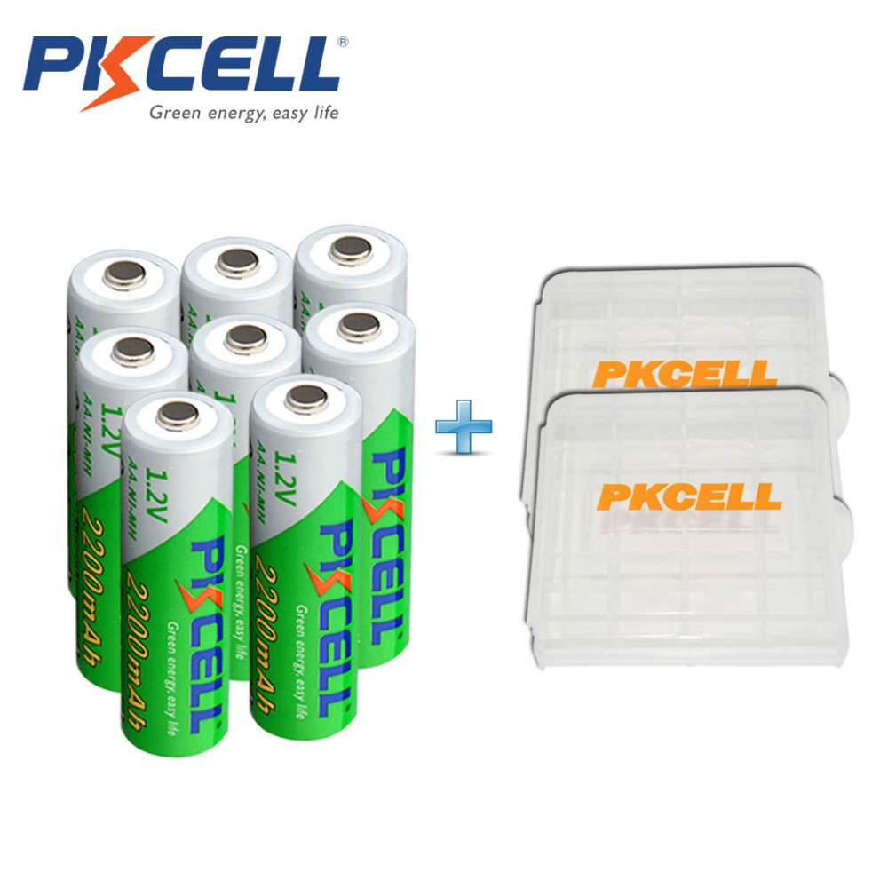 8 X PKCELL Low Self-discharge Durable Ni-MH 1.2V 2200mAh Battery AA Rechargeable Battery With 2Pcs Battery Hold Case Box(China (Mainland))