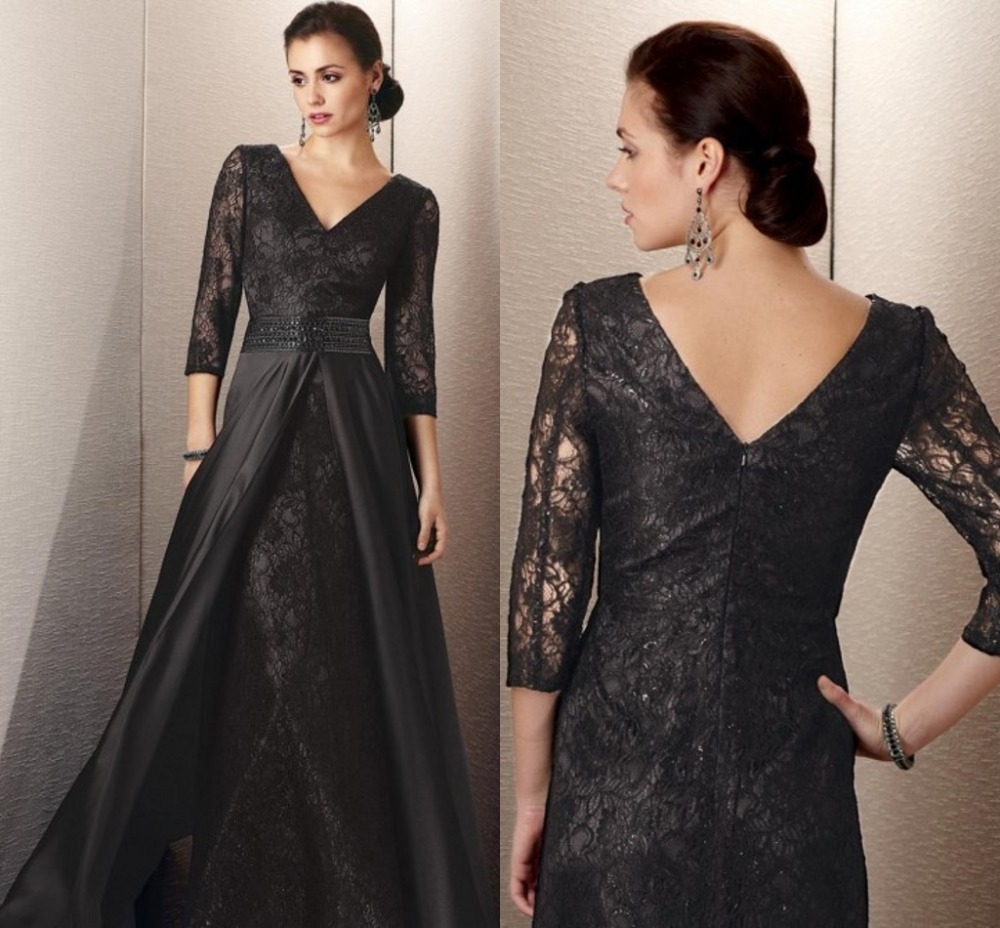 Buy long sleeve lace black custom made for Plus size black dresses for weddings