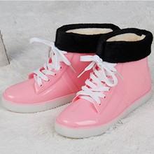 KESMALL Kadın yağmur çizmeleri Su Geçirmez yağmur ayakkabıları Kış Pamuk Kar Botları bayanlar Kauçuk Ayak Bileği yağmur çizmeleri Botas Üzerinde Kayma WS265(China)