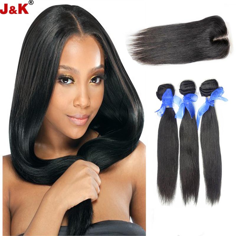 Mongolian Straight Hair with Closure 3 Bundles Human Virgin Hair Weft with Closure Mongolian Hair Weave Bundles with Closure<br><br>Aliexpress
