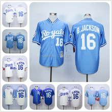 #16 Bo Jackson Royals Jersey, 100% Stitched Mens Blue White Bo Jackson KC Kansas City Royals Throwback Baseball Jerseys Shirt(China (Mainland))