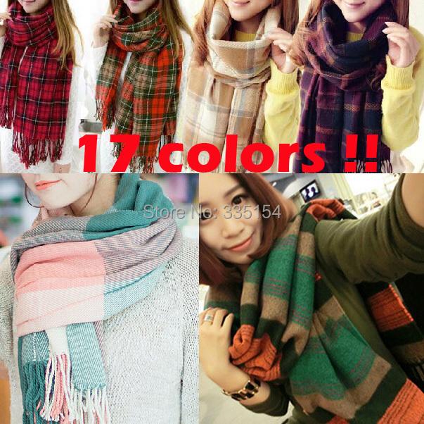 2015 Winter Women Giant Check Pashimina Warm Scarf Plaid Wool Scarf Fringe Infinity Scarf 17Colors Retail(China (Mainland))