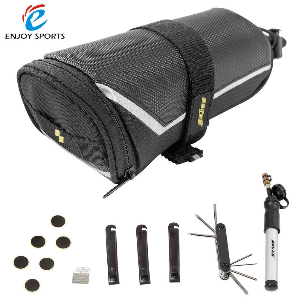 SAHOO Bicycle Flat Tyre Repair Kit Bike Tyre Pump Patch Tool Set 7 in 1 Multi-tool in Bicycle Accessories With Saddle Bags(China (Mainland))