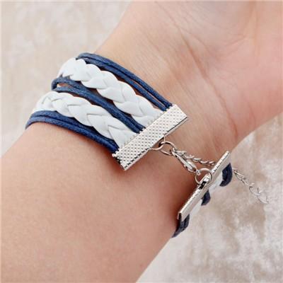 Vintage Braided Anchors Rudder bracelete Love owl best friends Leather Bracelet men jewelry heart Rope wrap Bracelets for Женщины