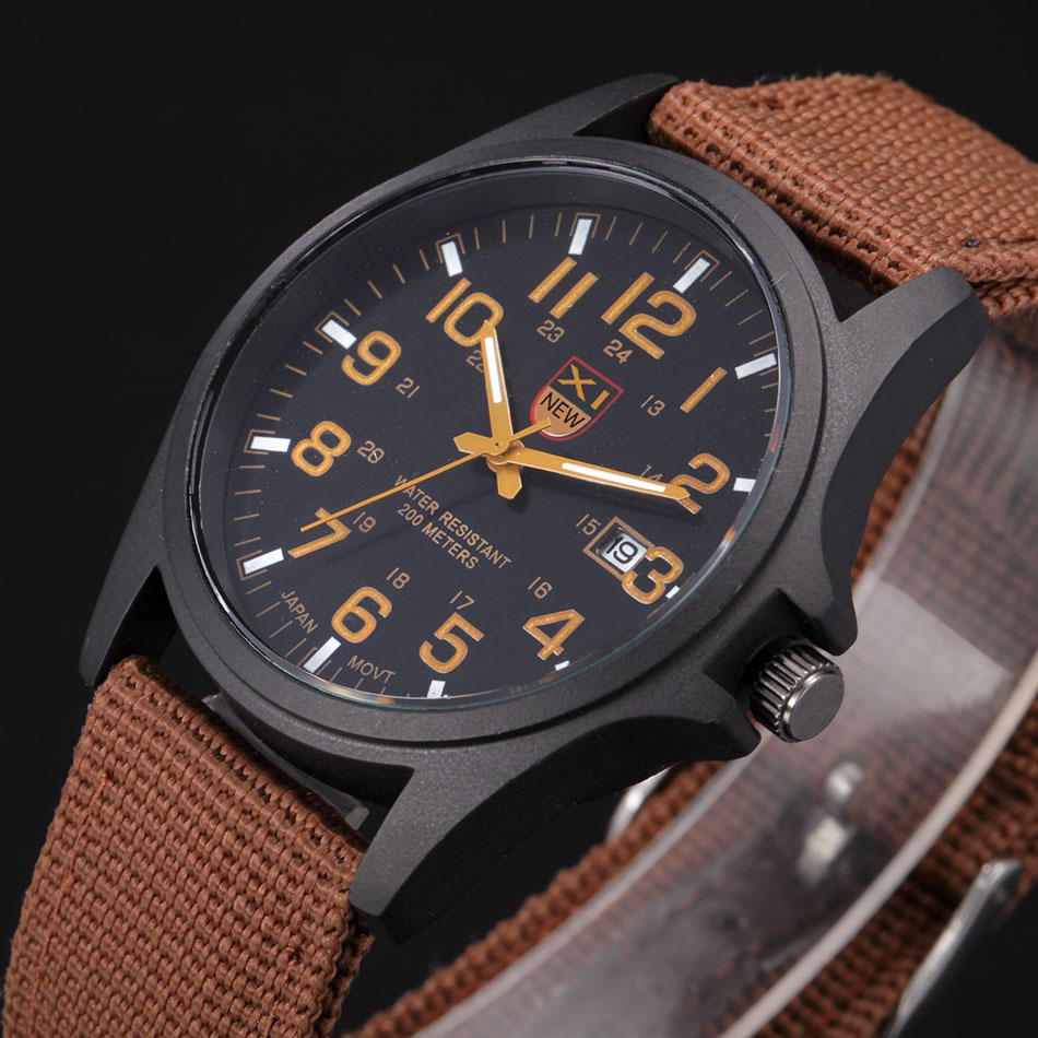 Men 39 s famous brand military canvas strap watch outdoor sport army soldier fabric analog quartz for Outdoor watches