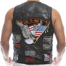 Men's Genuine Leather Motorcycle Vest w/14 Patches Halley Punk Vest Sleeveless Jacket New(China (Mainland))