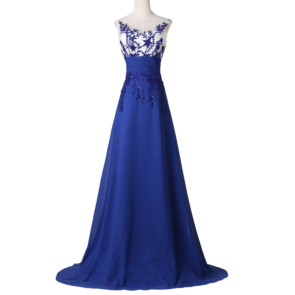 Blue O Neck Special Occasion dress Cap Sleeve Pageant Long Evening Ball Prom dresses 2015 Formal Gowns Dinner Party 7512 - Grace Karin Dress Co. Limited store