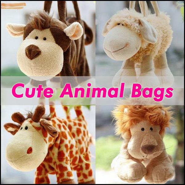 Lovely Gifts Small Cartoon Plush Casual Animal Hand Bags Cute Soft Pet Animal Shaped HandBags 10pcs/lot