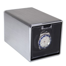 On Discount !2015 NEW Rectangle Mute Automatic Single Watch Winder Silver Winder Watch Box Gift