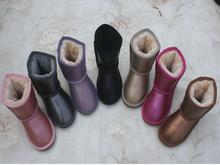 Winter 100% Genuine waterproof children UG Leather Boots Australia Sheep Fur Brand Snow Boots Boys Girls Kids Baby(China (Mainland))