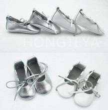50 pairs/lot Silver Genuine Leather lace up Baby Shoes