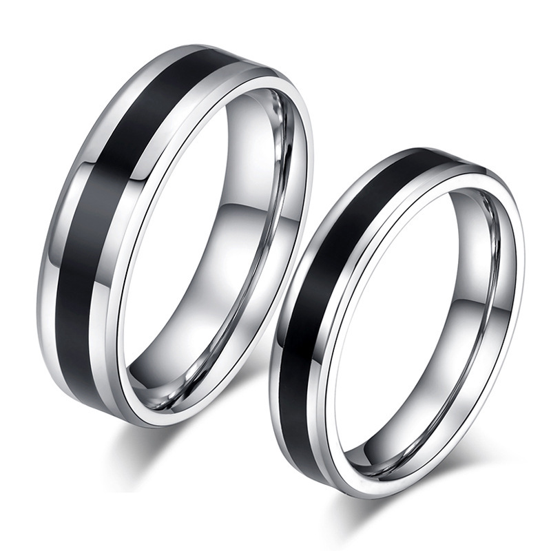 316l stainless steel simple black and white ring