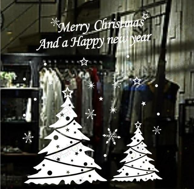 Merry Xmas Decal Large Christmas Deer Buck Tree Decorations Window Stickers New Year Party Gift Tree Snow Wall Decal Sticker(China (Mainland))