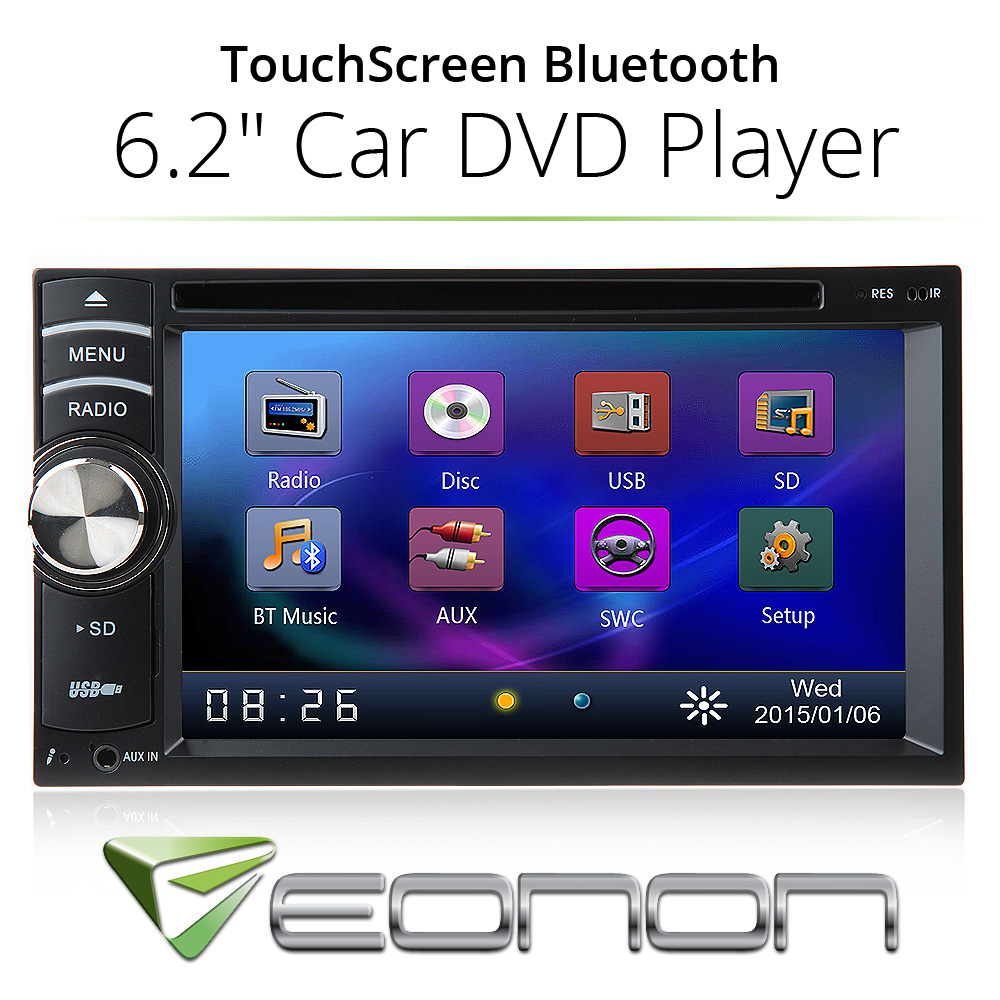 """Double 2 Din 6.2"""" In Dash Stereo Car DVD Player Bluetooth Radio SD Touch Screen(China (Mainland))"""