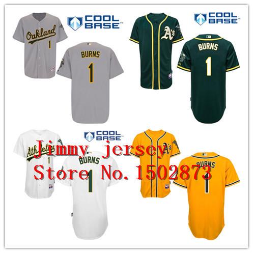 Oakland Athletics Billy Burns Jerseys,Oakland Athletics 1 Billy Burns Baseball Jersey White Green Yellow(China (Mainland))