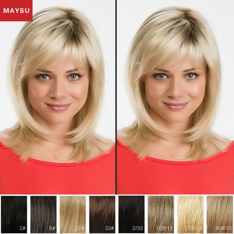 Фотография Medium Length Human Hair Wigs For Women  MAYSU Side Parting Classic Brazilian Virgin Hair Blonde wig Capless European Style