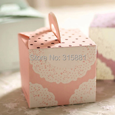 White lace Pink Hand Cake Box,Wedding Favor Cake Box,Gift Packaging Box(China (Mainland))