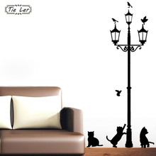 Buy Home Decoration 4 Little Cat Street Lamp DIY Wall Sticker Wallpaper Art Decor Mural Room Decal Adesivo De Parede Stickers for $1.48 in AliExpress store