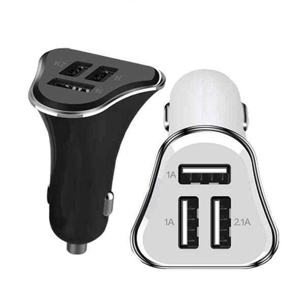 Newest 5V 2.1A 1A USB Car Charger Led Light 3 Ports USB Universal Mini Adapter for iPhone ipad Samsung Xiaomi Huawei LG Meizu(China (Mainland))