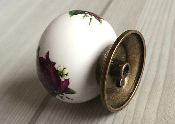 dresser pull knob white purple ceramic drawer kitchen cabinet knob bronze antique brass cupboard furniture door knob  handle