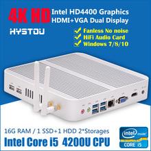 Intel Haswell Fanless Mini PC Core i5 4200u Windows 10 Mini-ITX Desktop Computer HD4400 Book sized PC Haswell i5 4200U(China (Mainland))
