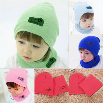 6 Colors Cute Spring Autumn Winter Baby Cap Girls/Boys Children Knitted Hat and Scarf Set Free Shipping