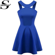 Sheinside Woman Sweet Clothing 2015 Hot Sale Sexy Summer Retro Sleeveless Solid Blue Strap Backless Flouncing Flare Dress(China (Mainland))