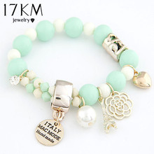 7 colors beaded fashion cute hearts romantic roses name plate Eiffel simulated pearl beads bracelet jewelry for women(China (Mainland))