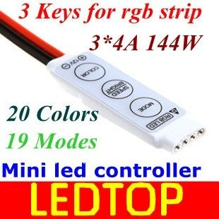 Mini RGB Controller Dimmer 12V 6A 3 Keys for 5050 3528 RGB LED Strip Light 19 Dynamic Modes and 20 Static Color