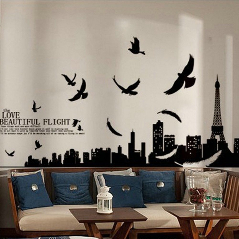 Diy wall stickers paris eiffel tower wall sticker home for Diy photo wall mural
