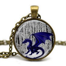 Antique Bronze Glass Cabochon Pendant Chain Big Dragon with Wings Chock Necklace Art Picture Women Fashion