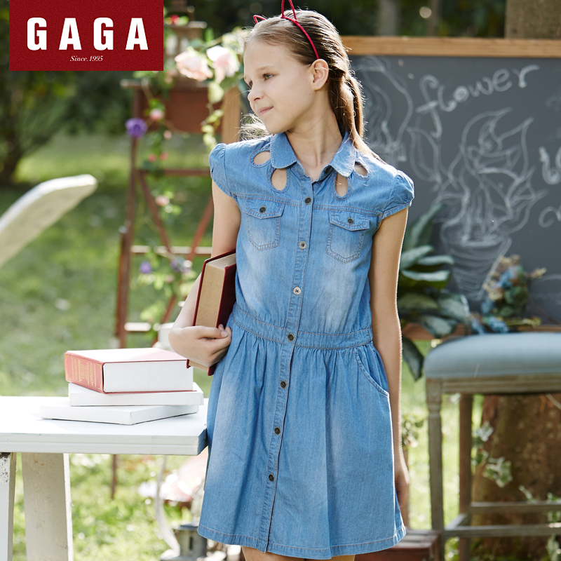 Gaga Brand Original Design 2015 Summer Girls Dress Denim Straight Children's Clothes With Pockets 7 - 16 Years Old Wear(China (Mainland))