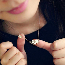 Good Lucky Elephant Family Stroll Design Fashion Women Charming Crystal Chain Necklace Statement necklace N62