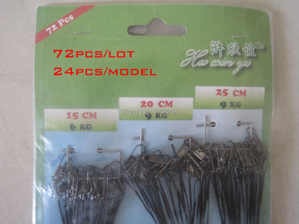 72PCS/lot  Traces Wires Pike Card Rolling Swivels Safety Snap Fishing Lures Hook <br><br>Aliexpress