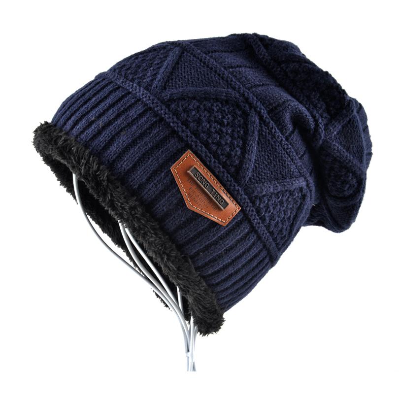 9736ce3c27a Brand hat men Winter Beanies women Knitted wool bonnet Plus velvet Soft  Beanie Autumn man Cap