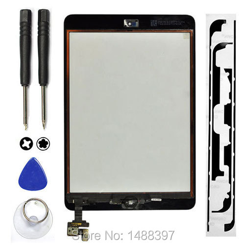 For iPad Mini 1 ipad Min 2 Touch Screen Digitizer+IC Connector+Home Button Flex Assembly White/Black+tool+full sticker(China (Mainland))