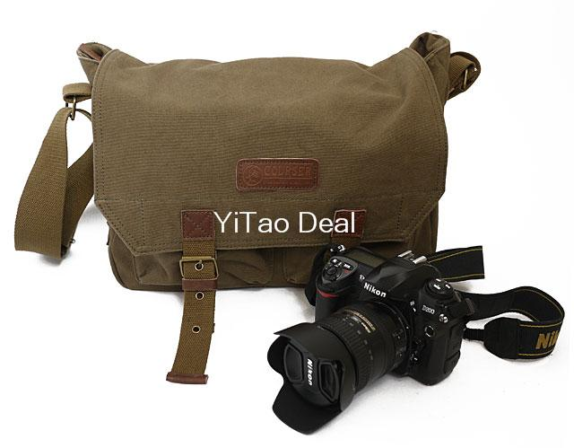 Course New Professional Waterproof Canvas Camera Case Messenger Bag for DSLR Camera--Coffe Green 35*24*14cm(China (Mainland))