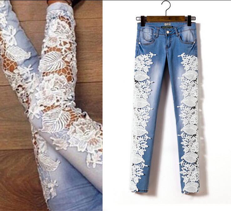 Fashion lace side skinny trousers hollow out full length ...