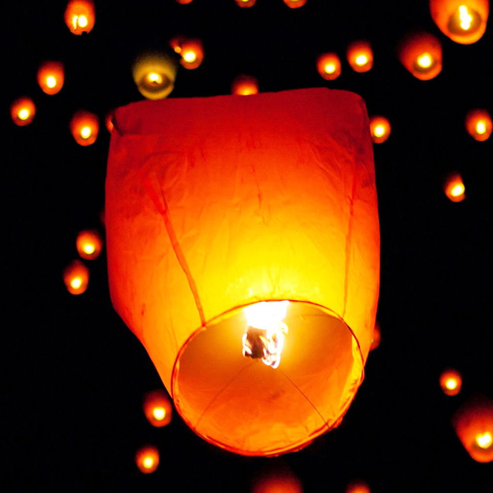 10pcs Chinese Paper Lantern Sky Lanterns Flying Wishing Lamp Kongming Lantern Balloon Wedding Party Decoration(China (Mainland))