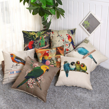 Buy Hand Printed Parrot Peacock Pillow Covering Flamingos Linen Cotton Cushion Decorative Throw Pillows Sofa Cushion C2 for $3.56 in AliExpress store