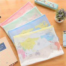 4 pcs/lot Creative World Map Pattern A4 A5 B6 Mini File Folder Document Bags Office Stationery Filing Products(China (Mainland))
