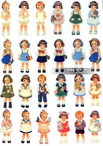 Free Shipping Retro Girl Heat transfer paper printing ,Zakka sticker ,21*29.5cm,6 pieces/lot, K2013PT04(China (Mainland))