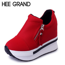 HEE GRAND Wedges Women Boots 2016 Platform Shoes Woman Creepers Slip On Ankle Boots Fashion Flats Casual Women Shoes XWD4722