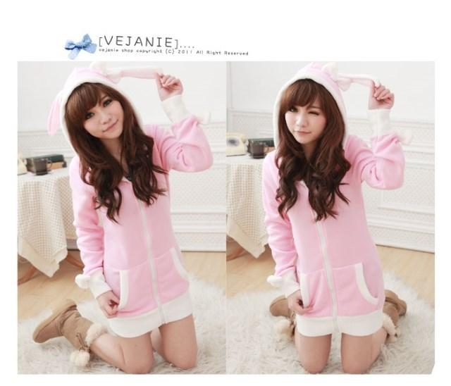 Bunny ear bow knot vivi jackets women winter kawaii jacket Japanese cute coat pink lolita ladies out coats wool free shipping(China (Mainland))