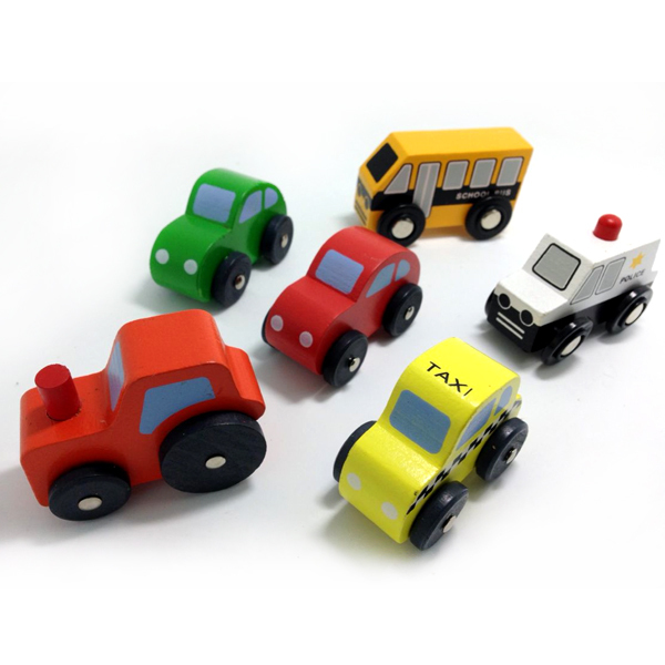 x24 6pcs High quality wooden rail car children's educational toys urban traffic police car agricultural vehicles taxi school bus(China (Mainland))