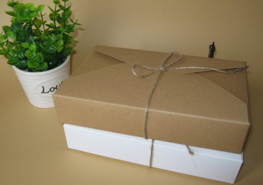 20pcs/lot 19.5cmx12.5cmx4cm kraft paper gift box envelope type kraft cardboard boxes package for wedding party invitation cards(China (Mainland))
